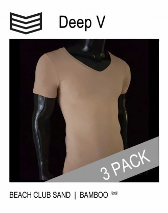 3 Pack Deep V T shirts - Beach Club Sand - 3V Underwear